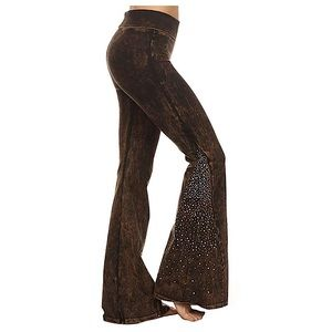 T Party Rhinestone Flare Mineral Wash Yoga Pants
